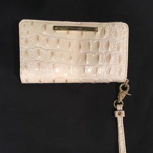 Brahmin Cream Golden Wallet Wristlet